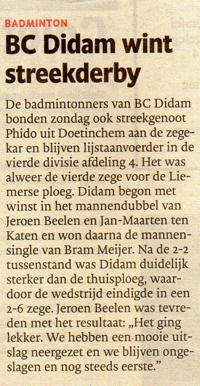BC Didam wint streekderby